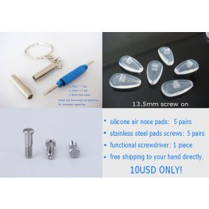 5 pairs pack  13.5mm screw on air active nose pads with screws and screwdriver free shipping