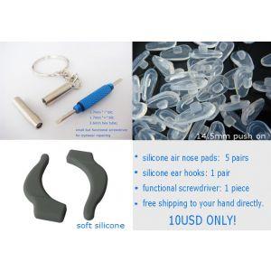 nose pads,ear hooks,screwdrivers for  eyewear