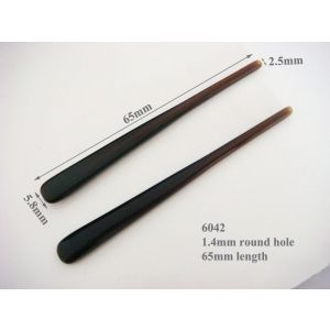 brown hard eyeglass temple tips 65mm length with 1.4mm hole