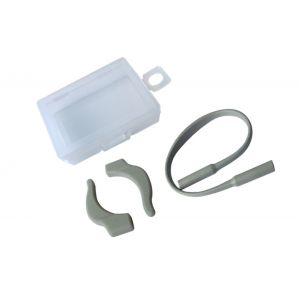 silicone anti-slipping off ear hooks and ropes for eyewear when sporting grey