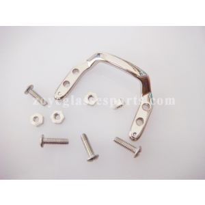 eyeglass bridge for plastic wood eyeglass silver color with screws and nuts