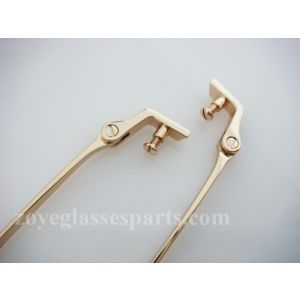 stainless temples for plastic wood frames TC-011 gold color screw on with acetate temple tips