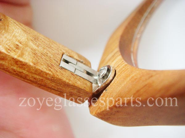 how to install hinge onto wood bamboo horn eyeglass frame step 4