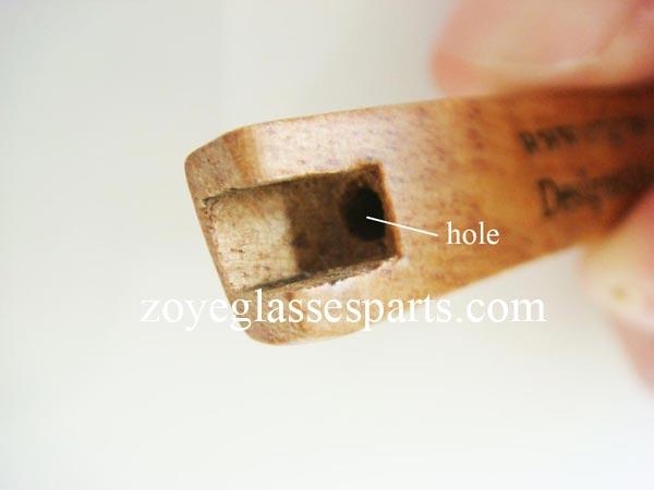 how to install hinge onto wood bamboo horn eyeglass frame