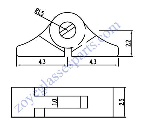 drawing of eyeglass hinge for metal frame solder on