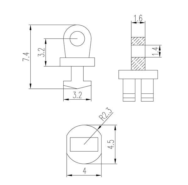 single barrel hinge for plastic eyewear frame 1.6mm loop