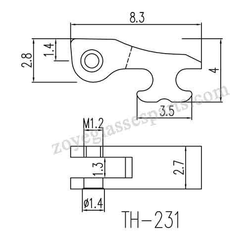 1.3mm grooved hinge for eyewear spring hinge repairing.