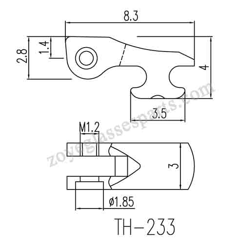 front hinge for eyeglass spring hinge with 1.4mm grooved size.