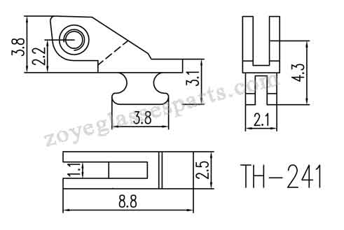 front hinge for 2.4mm eyeglass spring hinge and 2.6mm spring hinge,with 1.1mm grooved size.