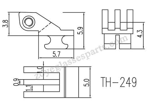 front hinge for double  spring hinge with 5.0mm width