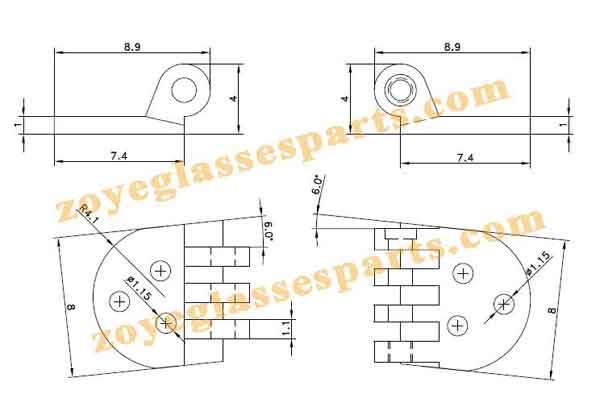hinge for wayfarer sunglasses 6.0mm round