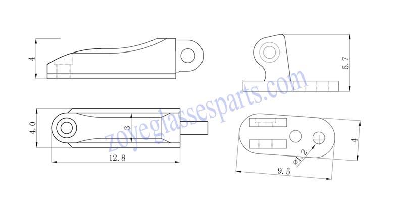 flex hinge for wood sunglasses 3.0mm nickel silver screw on