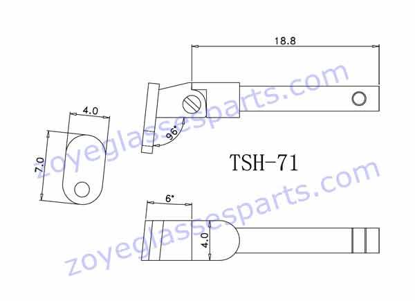 drawing of spring hinge for wood sunglasses TSH-71
