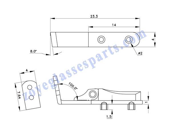 eyeglass spring hinge TSH-75 screw on for wood plastic horn eyewear